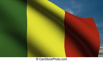 Mali Flag waving in wind with clouds in background