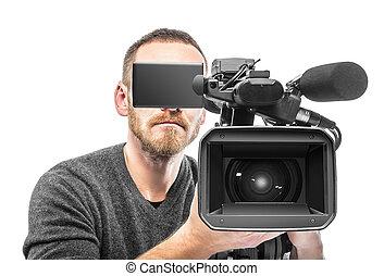 vídeo, cámara, operador, filmed.,