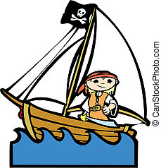 Pirate Boat with Girl - Simple childrens boat image with...