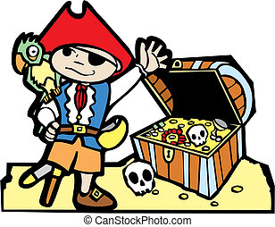 Pirate with Treasure Chest - Pirate treasure chest with gold...