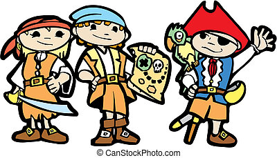 Children in Pirate Costumes - Children dress in pirate...