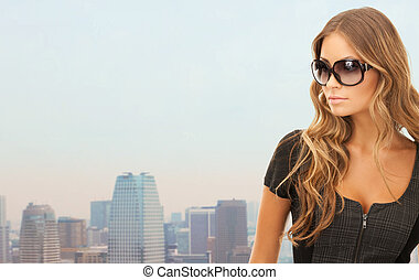 beautiful young woman in shades - people, lifestyle, fashion...