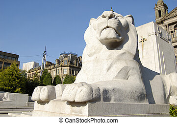 Glasgow-06-0157 - Lion statue at the Cenotaph war memorial...