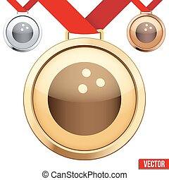 Gold Medal with the symbol of a bowling inside - Three...