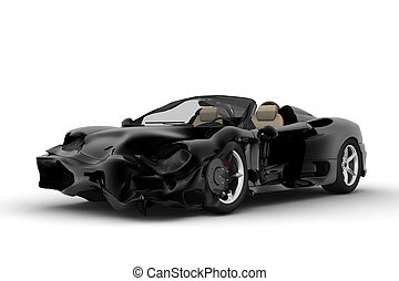 Black accident car - A black sport car accident on a white...