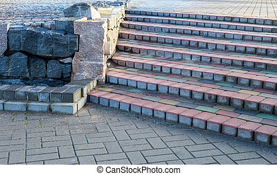 steps of colored concrete beams, Ventspils, Latvia