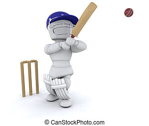 man playing cricket - 3d render of a man playing cricket