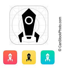 Rocket icon on white background. Vector illustration.