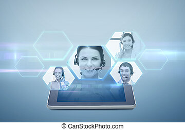 tablet pc computer with video chat projection - electronics,...