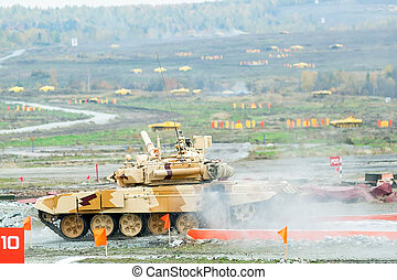 Tank T-90S moves after water ford - Nizhniy Tagil, Russia -...