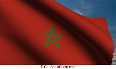 Moroccan Flag waving in wind with clouds in background