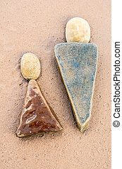 Yan, Ying - Two triangle stones on the sandy shore