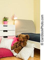 Teddybear in bedroom - Cute little teddbear in children...