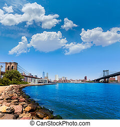 Brooklyn and Manhattan Bridges in New York US