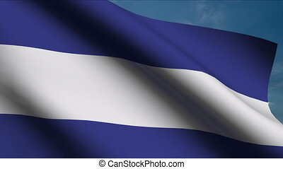 Nicaraguan Flag waving in wind with clouds in background