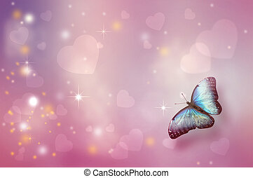 Valentine's day background with flying butterfly