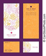 Vector flowers outlined vertical frame pattern invitation...