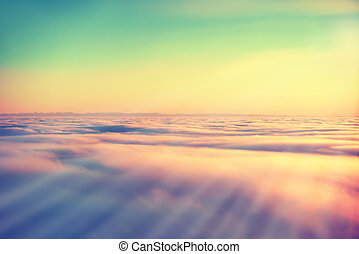 Sky, sunset sun and clouds - Amazing view from plane on the...