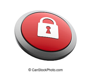 Red security icon isometry - Red and white security emblem...