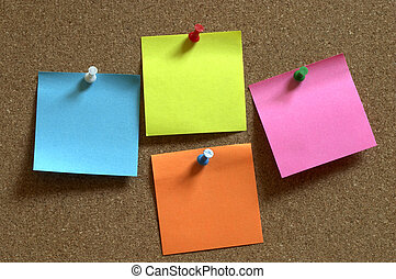 Sticker notes - Color sticker notes over cork board...