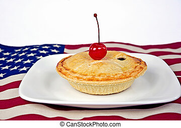 cherry pie on flag