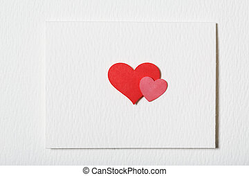 Card with hand crafted hearts - Card with hand crafted red...
