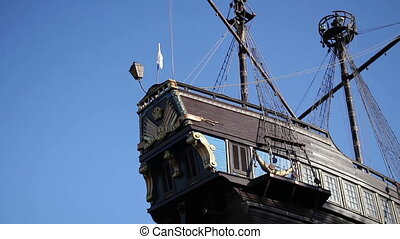 restaurant in the form of an old ship in the background of...