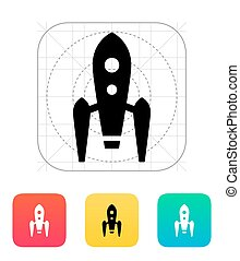 Long rocket icon on white background Vector illustration