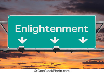 Freeway to Enlightenment Road Sign with Sunrise Sky