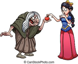 Snow White and witch - Snow white getting an apple from an...