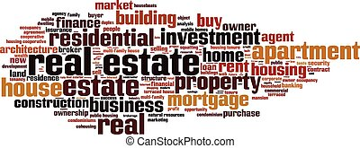 Real estate word cloud concept Vector illustration