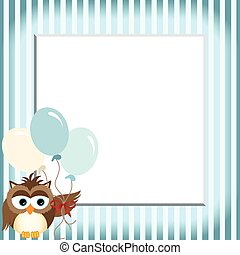 Owl holding balloons in a baby blue