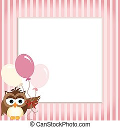 Owl holding balloons in a baby pink