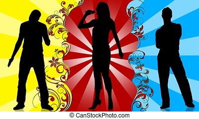 Animation of young people silhouettes singing and dancing