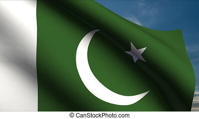 Pakistan Flag waving in wind with clouds in background