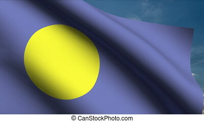 Palau Flag waving in wind with clouds in background
