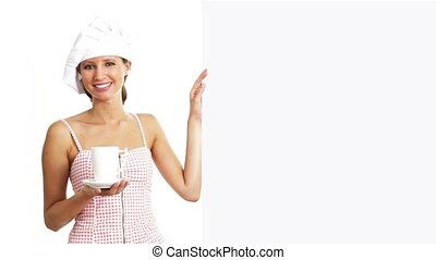 chef woman cup showing billboard - chef woman with cup...
