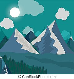 natural landscape in the style of flat night time - Vector...
