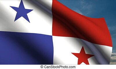 Panama Flag waving in wind with clouds in background