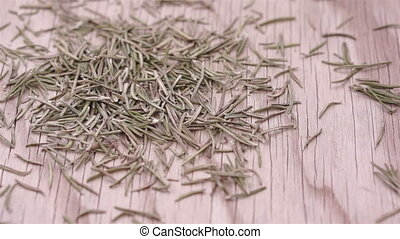 Rosemary Herb Leaf Pile Dolly - Close up dolly shot of a...