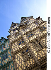Half timbered houses in the city of Angers, France
