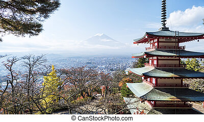 Mount Fuji and Chureito Pagoda, Japan. - Mount Fuji and...