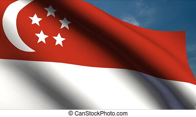 Singapore Flag waving in wind with clouds in background
