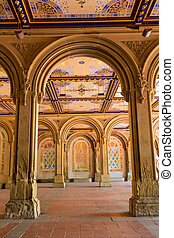 Central Park Bethesda Terrace underpass arcades New York Us