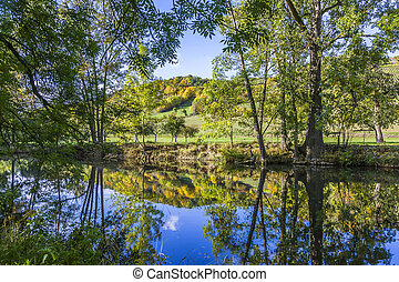 reflection in the river Tauber in lovely Tauber valley near...
