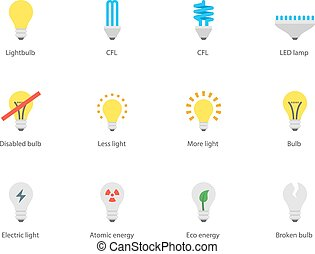 Light bulb and CFL lamp icons on white background. - Perfect...