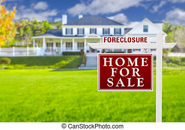 Foreclosure Home For Sale Sign in Front of Large House -...