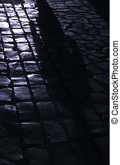 Shadow- Tunisian medina - Shadow of people walking in souq...