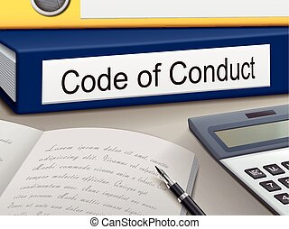 code of conduct binders isolated on the office table