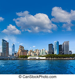 Manhattan skyline New York from East River US USA